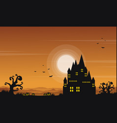 landscape castle halloween style collection vector image vector image