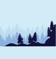 Landscape of spruce forest silhouettes vector