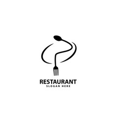 Letter p logo with fork spoon eat logo cafe vector