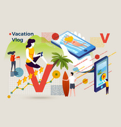 letter v with summer vacation video vlog vector image