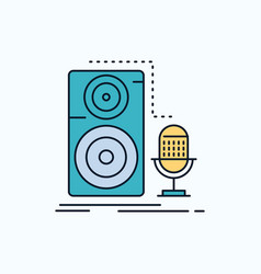 live mic microphone record sound flat icon green vector image