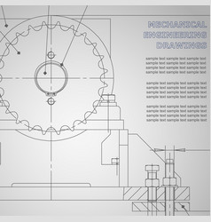 Mechanical engineering drawings on gray vector