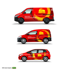 Mocup set with advertisement on red car cargo van vector