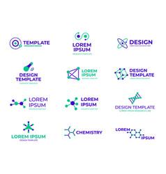 molecule structure badges hexagon molecules vector image