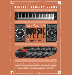 Music records studio or shop retro poster vector