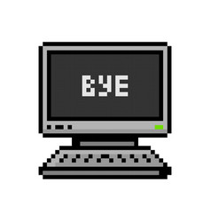 Pixelated pc and laptop set bye - isolated vector