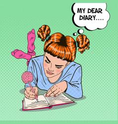 Pop art girl in pink socks writing in diary vector