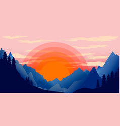 poster template with wild mountains landscape vector image