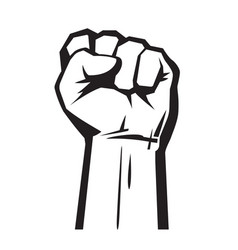 raised hand with fist vector image
