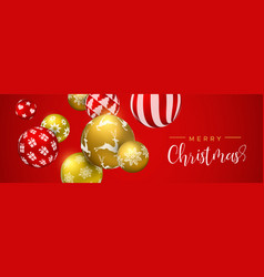 red christmas bauble ornament web banner vector image