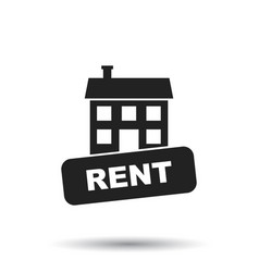 Rent house icon in flat style on white background vector