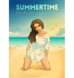 Retro poster with a girl sitting on the beach vector