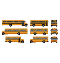 School bus back kids icons set realistic style vector