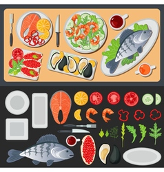 Sea Food Healthy Food Prepared Fish Vegetables vector image