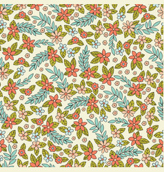 seamless pattern with stylized small flowers vector image