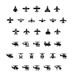Set icons of planes and helicopters vector image