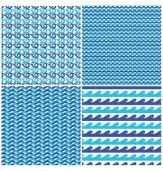 Set of blue waves seamless patterns vector image