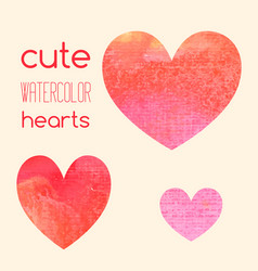 set of cute watercolor hearts vector image