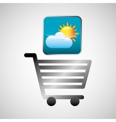 shiny shopping cart weather online commerce vector image