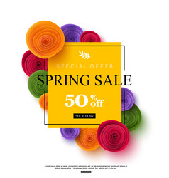 spring sale banner template with paper rose vector image
