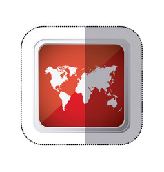 sticker red square button with silhouette world vector image