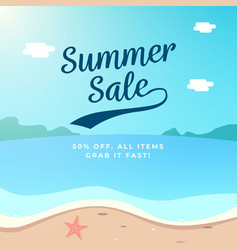 summer sale background design beach scenery vector image