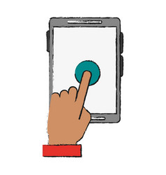 Tablet finger tap icon image vector