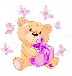 teddy bear with pink gift vector image