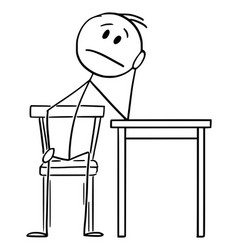 Tired or depressed man sitting at home on chair vector