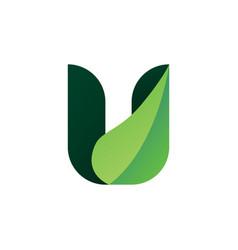 U leaf letter logo icon vector