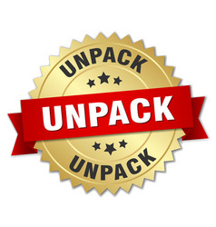 Unpack round isolated gold badge vector