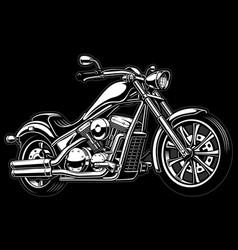Vintage monochrome motorcycle on dark background vector