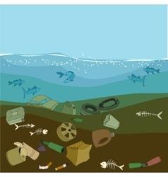 Water pollution in the ocean garbagewaste vector