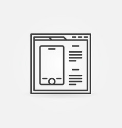 Webpage or browser with smartphone outline vector