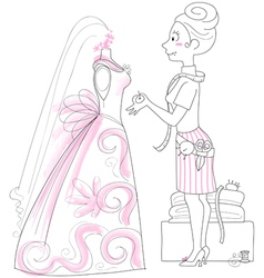 Wedding dressmaker vector