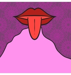 Women mouth open with tongue Out on pink vector