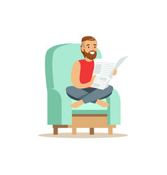 Young bearded man sitting on a light blue armchair vector