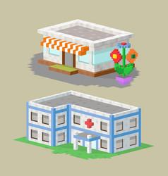 Cute colorful flat style house village pixel art vector
