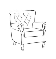 line art retro armchair vector image