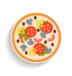pizza with sausage tomatoes mushrooms and cheese vector image