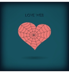 Red heart icon on dark background Love web concept vector image