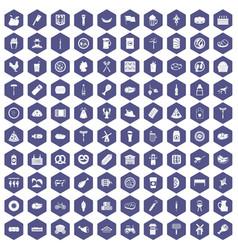 100 meat icons hexagon purple vector