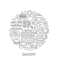 bakery pastry in circle - concept line vector image vector image