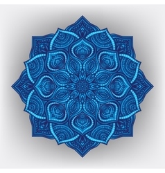 Blue floral round ornament vector image vector image