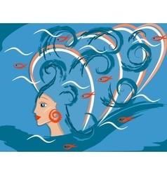 fantastic sea girl or woman mermaid vector image vector image
