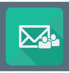Mail icon envelope with group of people Flat vector image