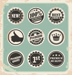 Set of promotional retro labels vector image
