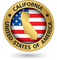 California state gold label with state map vector image