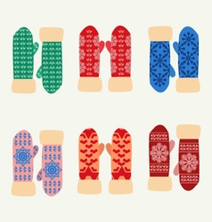 Cute set with mittens Colorful collection vector image vector image