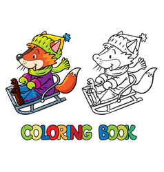 Funny fox rides on sleigh or sled coloring book vector